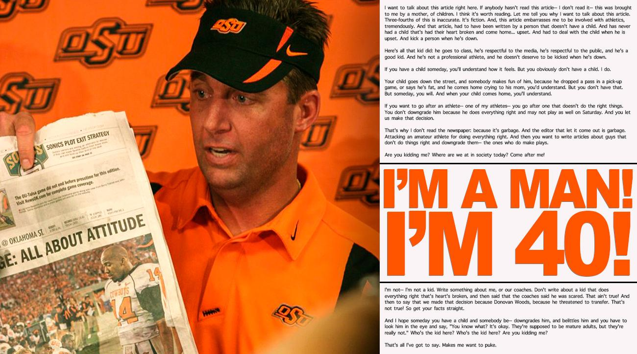 "Mike Gundy rant: Oklahoma State coach talks ""I'm a man, I'm 40!"" press conference, 10 years later"