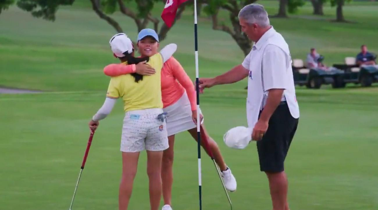 Chia Yen Wu after winning her match at the U.S. Women's Amateur on the 30th hole.