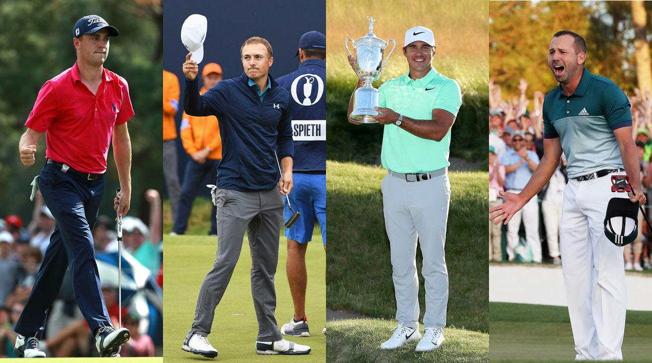 PGA champion Justin Thomas; British Open champion Jordan Spieth; U.S. Open champion Brooks Koepka; Masters champion Sergio Garcia.
