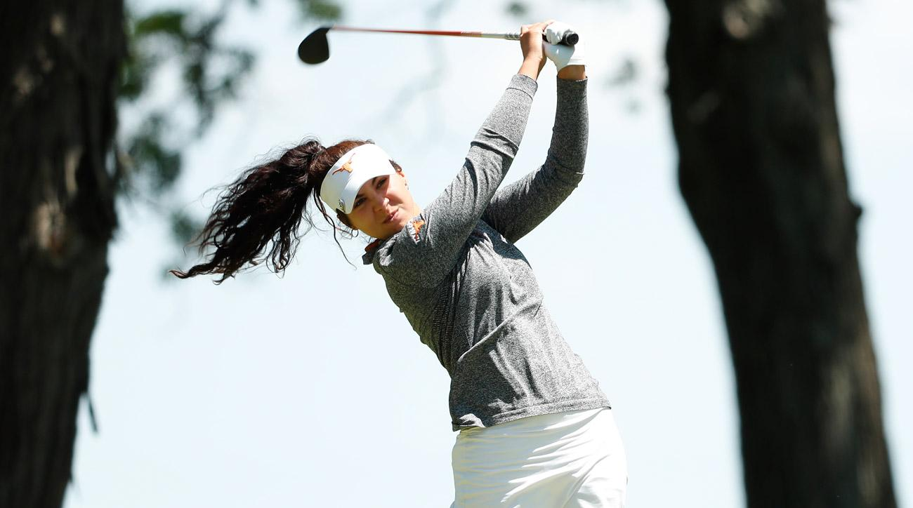 Sophia Schubert in action during the Division I Women's Golf Individual Championship held at Rich Harvest Farms on May 22, 2017.
