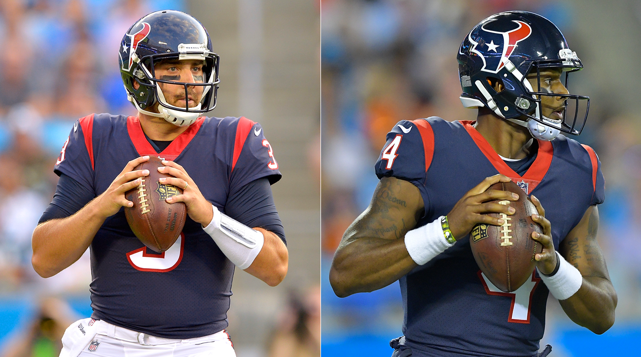 Houston Texans quarterbacks Tom Savage (l.) and Deshaun Watson.