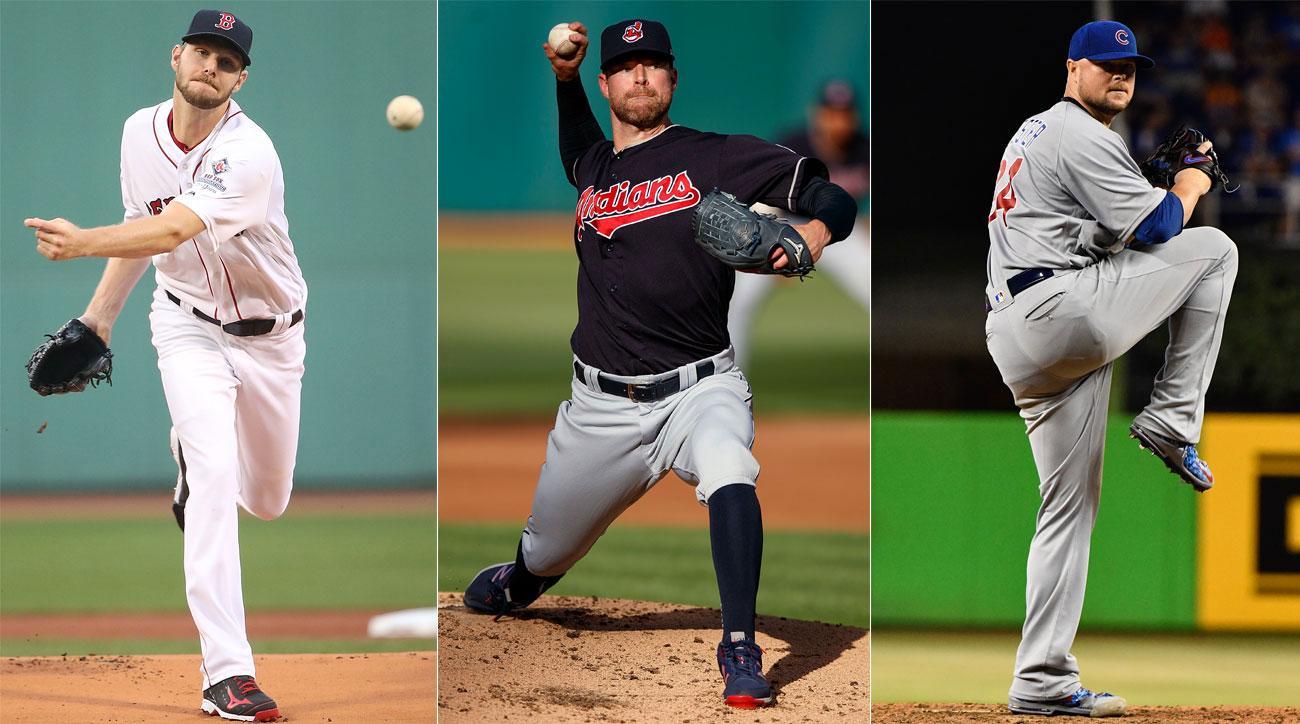 Chris Sale, Boston Red Sox; Corey Kluber, Cleveland Indians; Jon Lester, Chicago Cubs