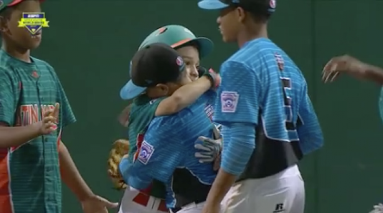 Venezuela's Little League team halts celebration to console opposing pitcher