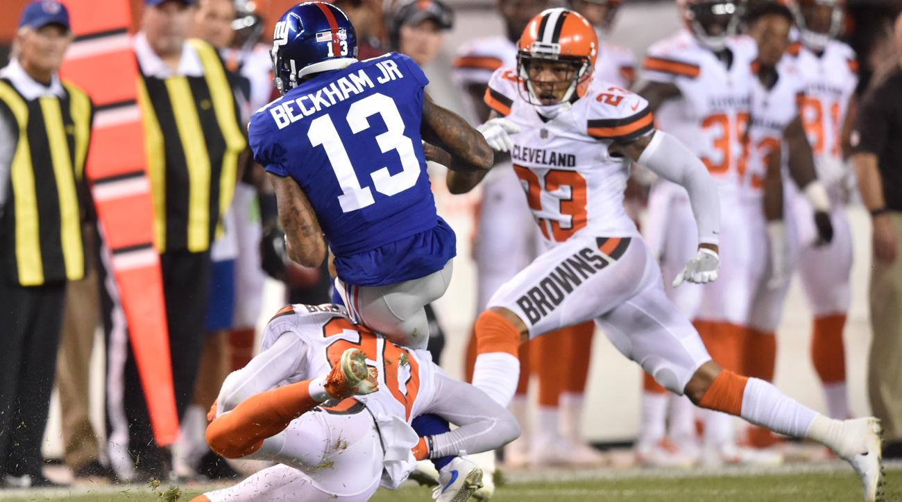 Odell Beckham Jr. suffered an ankle injury on this hit by Browns cornerback Briean Boddy-Calhoun on Monday night.