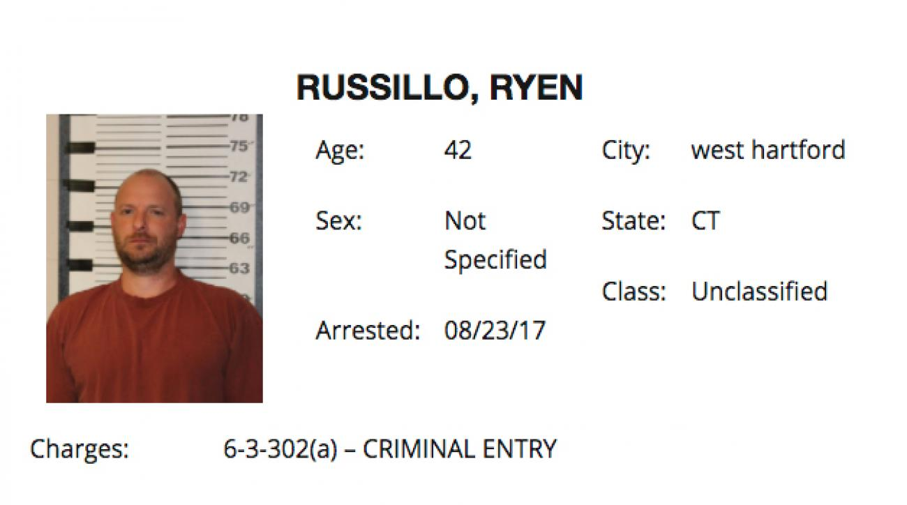 ESPN radio host Ryen Russillo has been arrested for misdemeanor criminal entry in Wyoming.