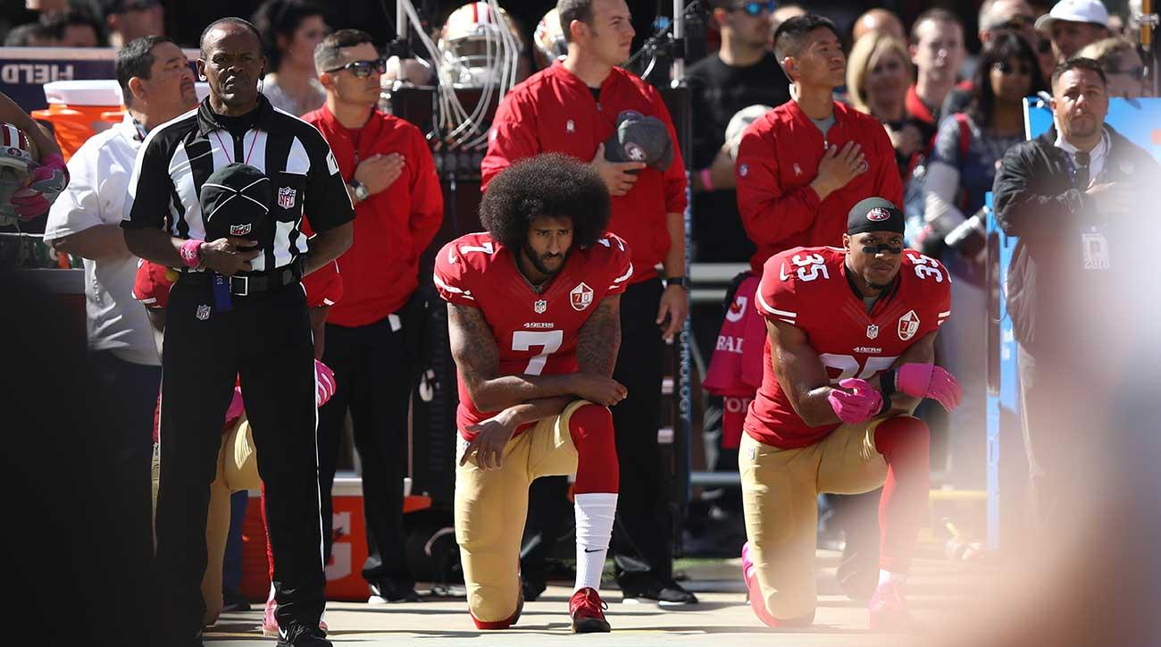 Jj watt helps hurricane harvey houston flood relief si colin kaepernick kneels during the national anthem at a 49ers game in 2016 kristyandbryce Image collections