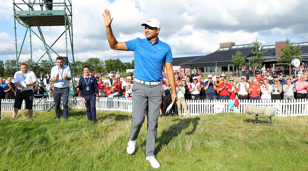 Julian Suri acknowledges the crowd after his victory during the final round of Made in Denmark at Himmerland Golf & Spa Resort on Sunday in Aalborg, Denmark.
