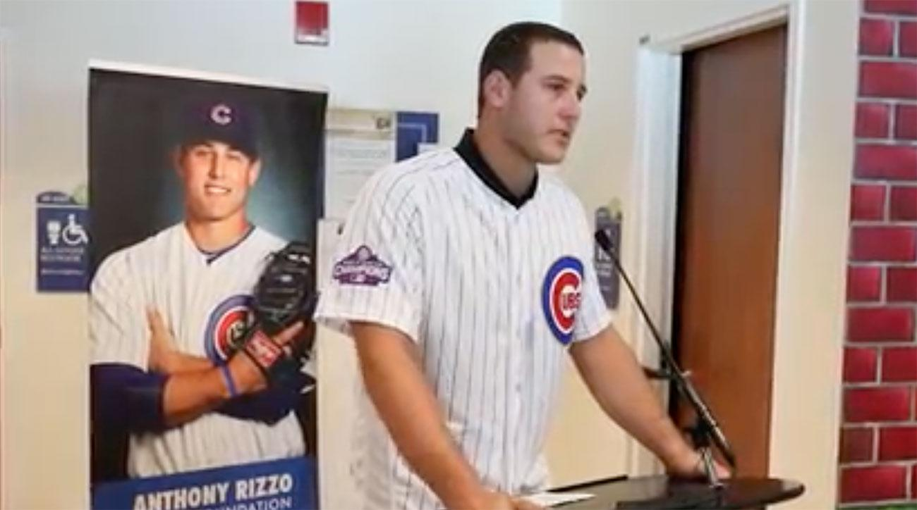 Anthony Rizzo cries during dedication at children's cancer center