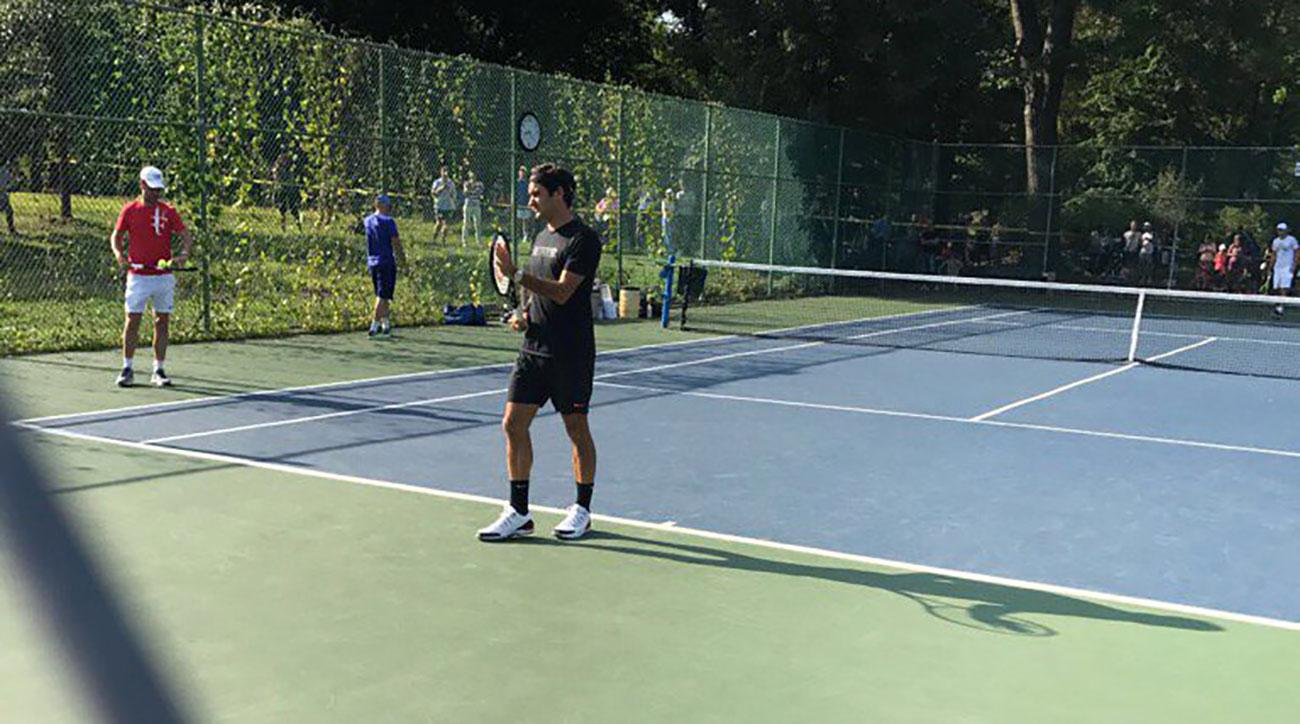 Image result for roger federer practices in central park