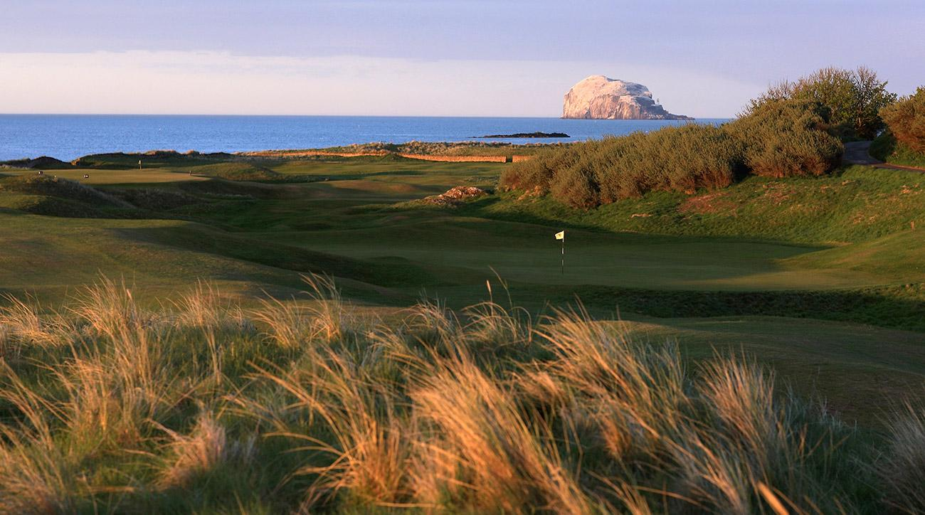 The green of the par-3 4th hole at North Berwick Golf Club in North Berwick, Scotland.
