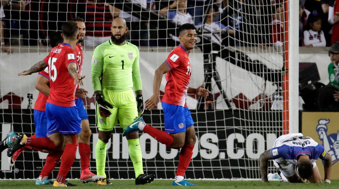 Costa Rica beats the USA in a World Cup qualifying match in New Jersey