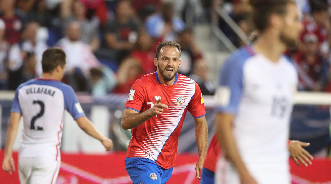 Marco Urena scores for Costa Rica vs the USA in World Cup qualifying