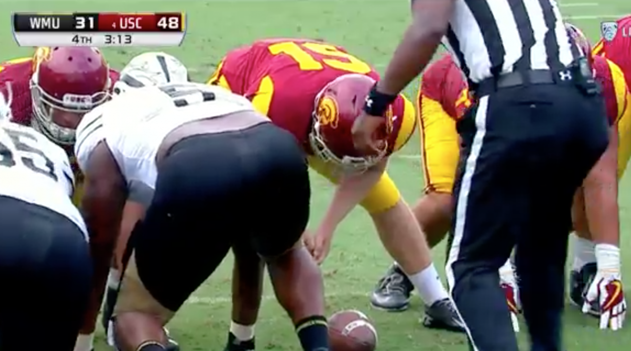Blind long-snapper Jake Olson helps USC score an extra point