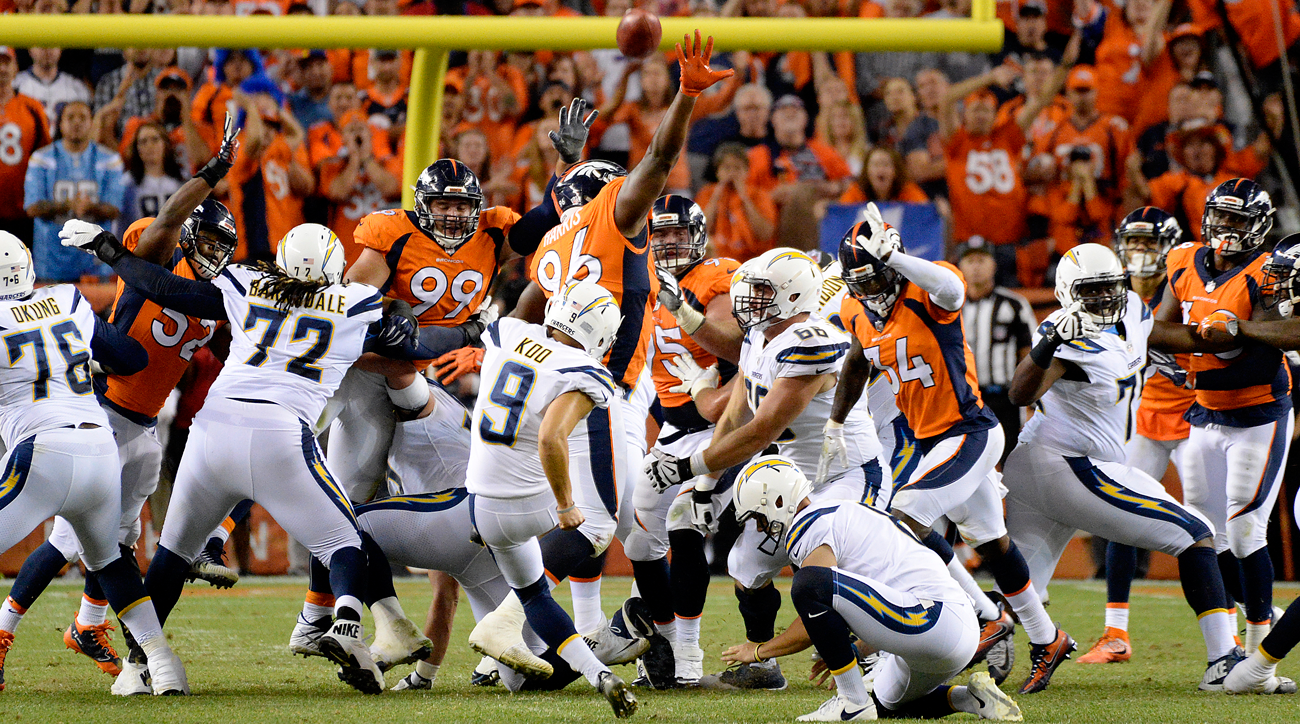 Shelby Harris (96) blocks field goal attempt by Younghoe Koo that preserved the Denver Broncos' 24-21 win over the Los Angeles Chargers.