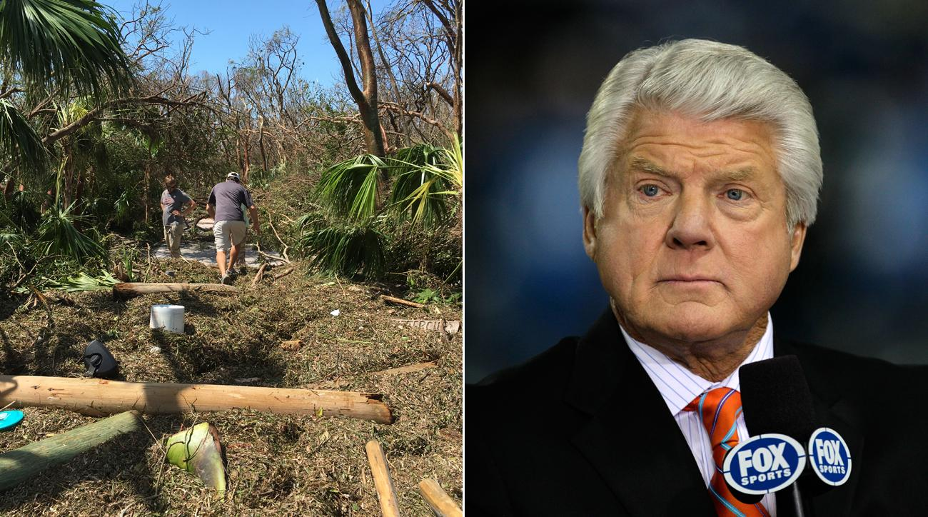 The driveway to Jimmy Johnson's Florida home was flooded with debris in the aftermath of Hurricane Irma.