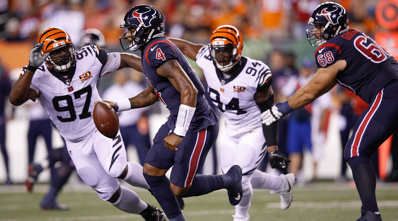 Houston Texans quarterback Deshaun Watson won his first NFL start.