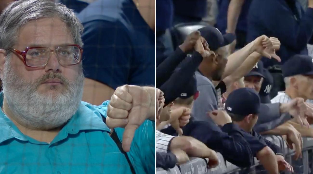 yankees todd frazier home run thumbs down celebration video?itok=tTNPgrUW yankees celebrate home runs with thumbs down (video) si com,Down Down Meme