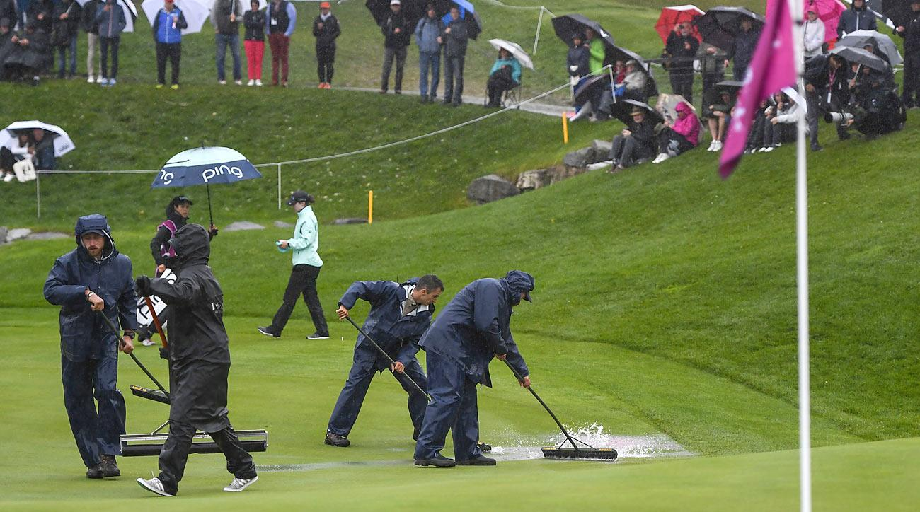 Heavy rains, which continued on Sunday, forced the 2017 Evian Championship to be shortened to 54 holes.