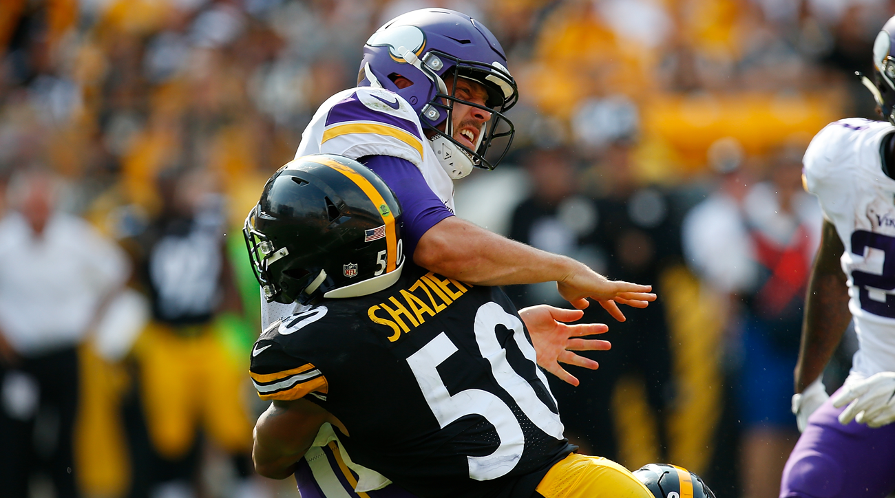 Steelers LB Ryan Shazier puts a hit on Vikings QB Case Keenum in Week 2.