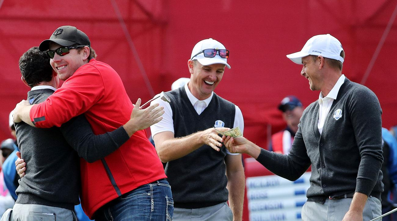 Practice-round wagers have long been a part of competing on Tour. Here, Ryder Cup fan David Johnson makes a putt for $100 at Hazeltine.