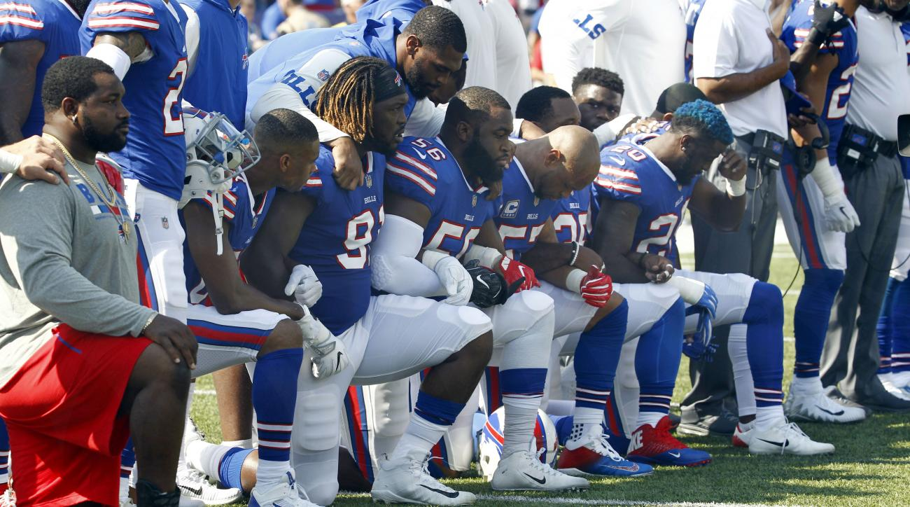 Bills players protest LeSean McCoy stretches during anthem