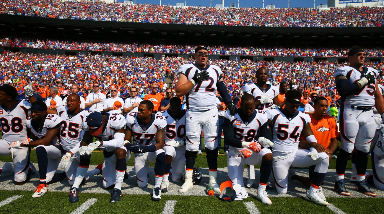 Von Miller and Demaryius Thomas among Broncos players who kneeled during national anthem on Sunday.