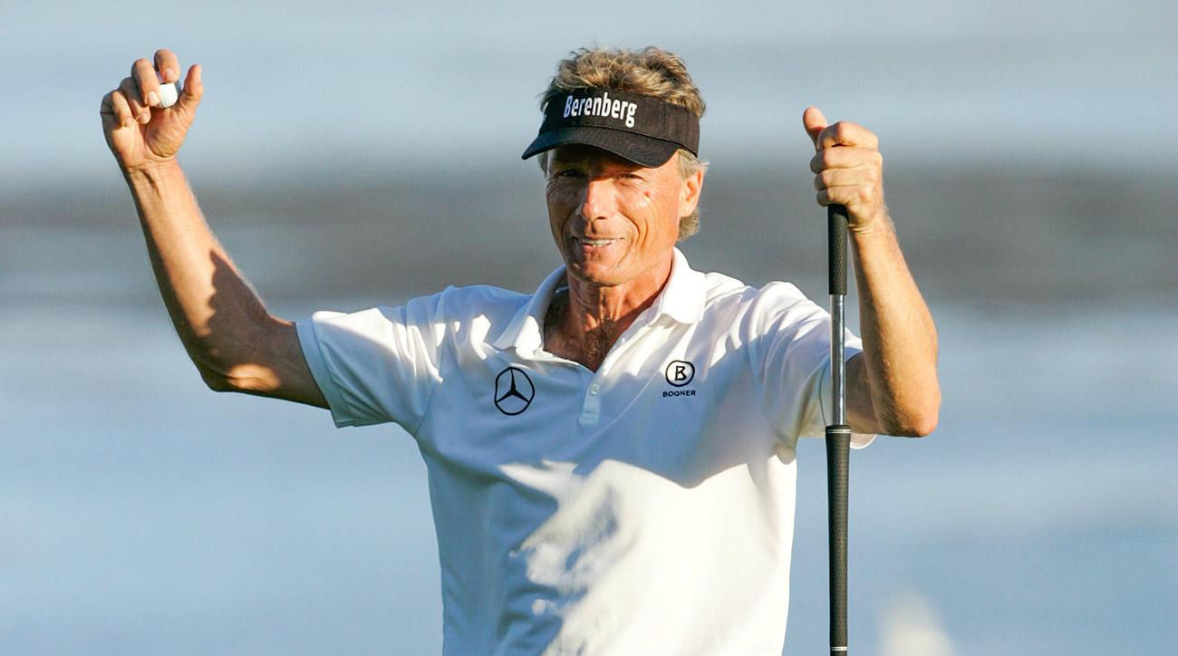 Bernhard Langer raises his fists in celebration after winning the Pure Insurance Championship Sunday.