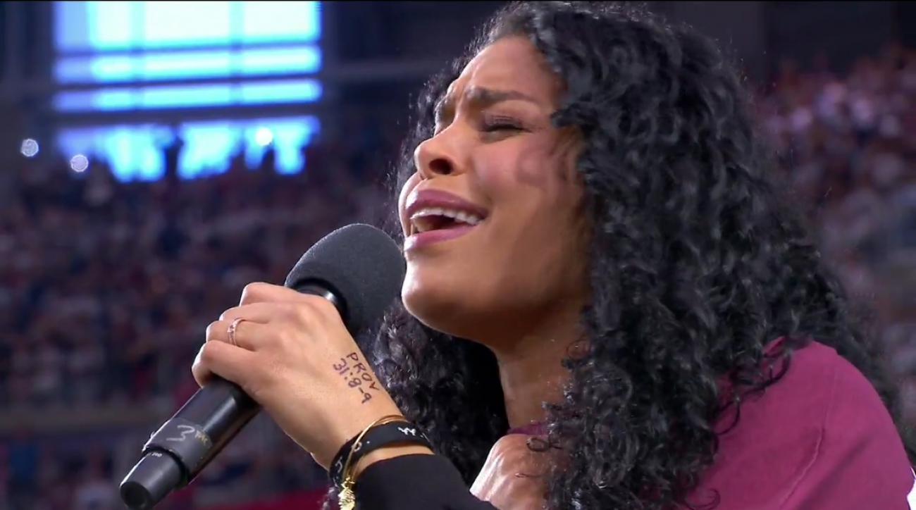 Jordin Sparks singing national anthem on MNF NFL in Arizona
