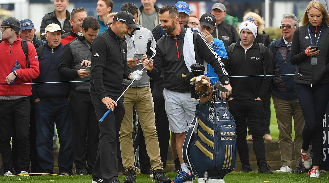 Sergio Garcia and fan Mark Johnson had a good time at the British Masters.