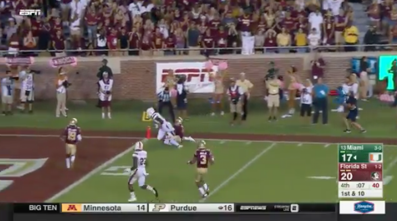 miami florida state late touchdown video