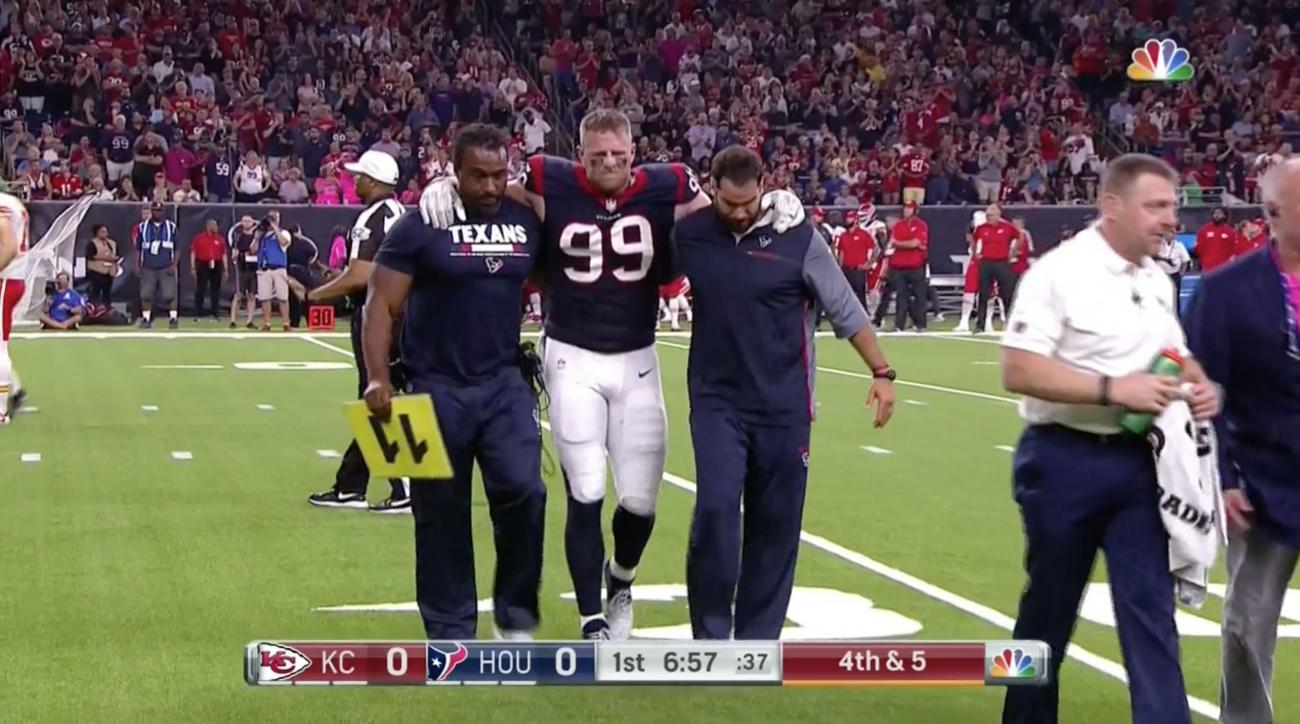 JJ Watt injury news Texans star leaves game against Chiefs