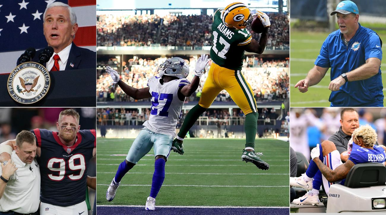 Clockwise from top left: Vice President Mike Pence, Packers WR Davante Adams, Dolphins offensive line coach Chris Foerster, Giants WR Odell Beckham and Texans DE J.J. Watt.