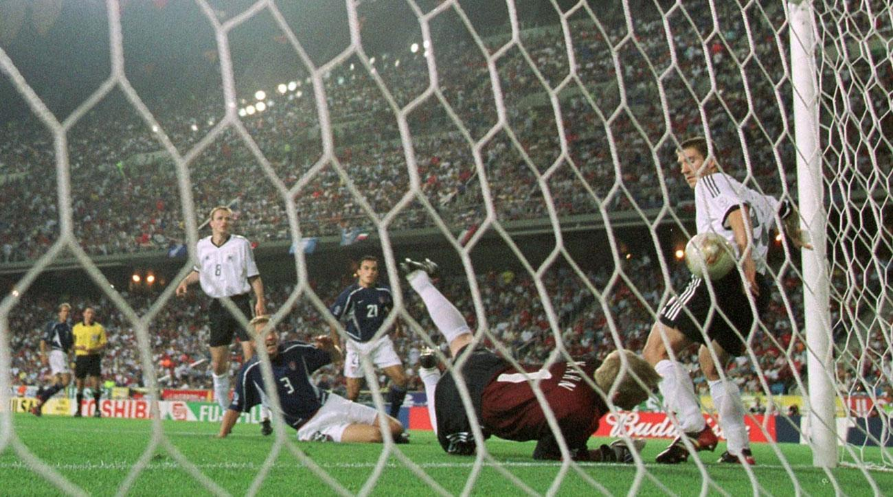 Torsten Frings blocks a ball on the goal line for Germany vs. the USA in the 2002 World Cup quarterfinals