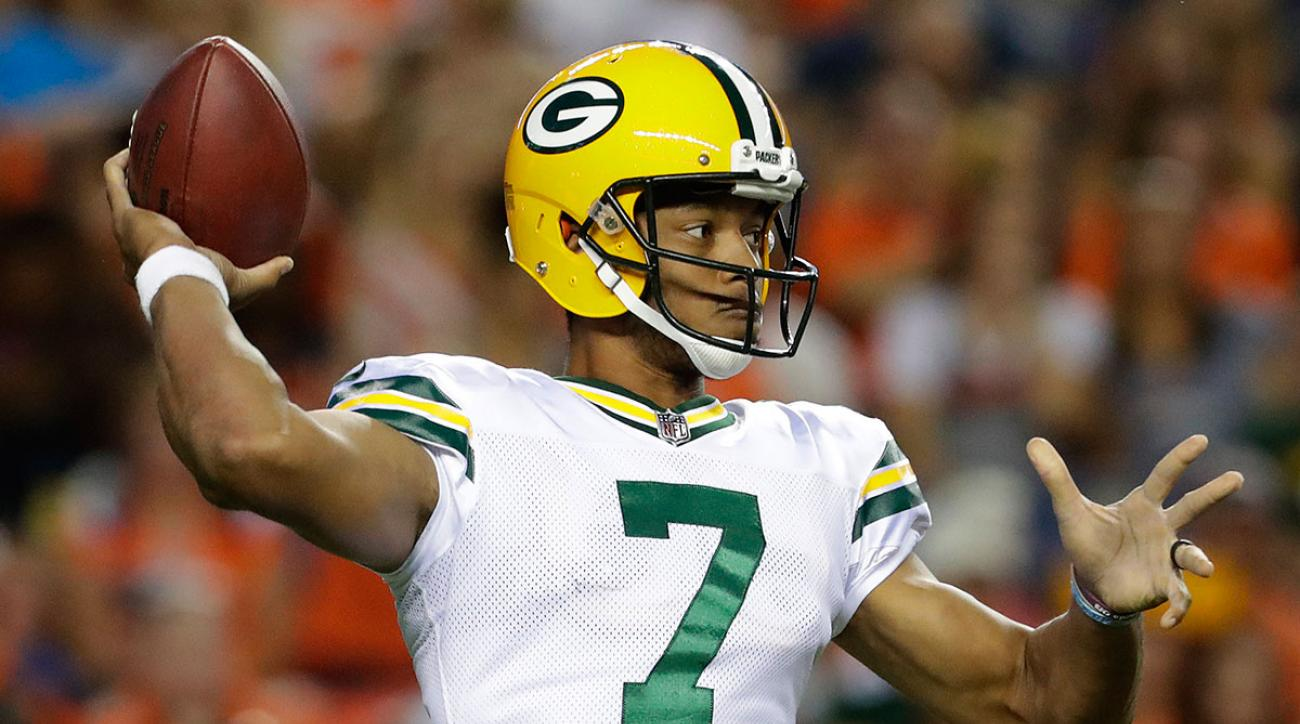Green Bay Packers quarterback Brett Hundley (7) throws against the Denver Broncos during the first half of an NFL preseason football game, Saturday, Aug. 26, 2017, in Denver. (AP Photo/Joe Mahoney)