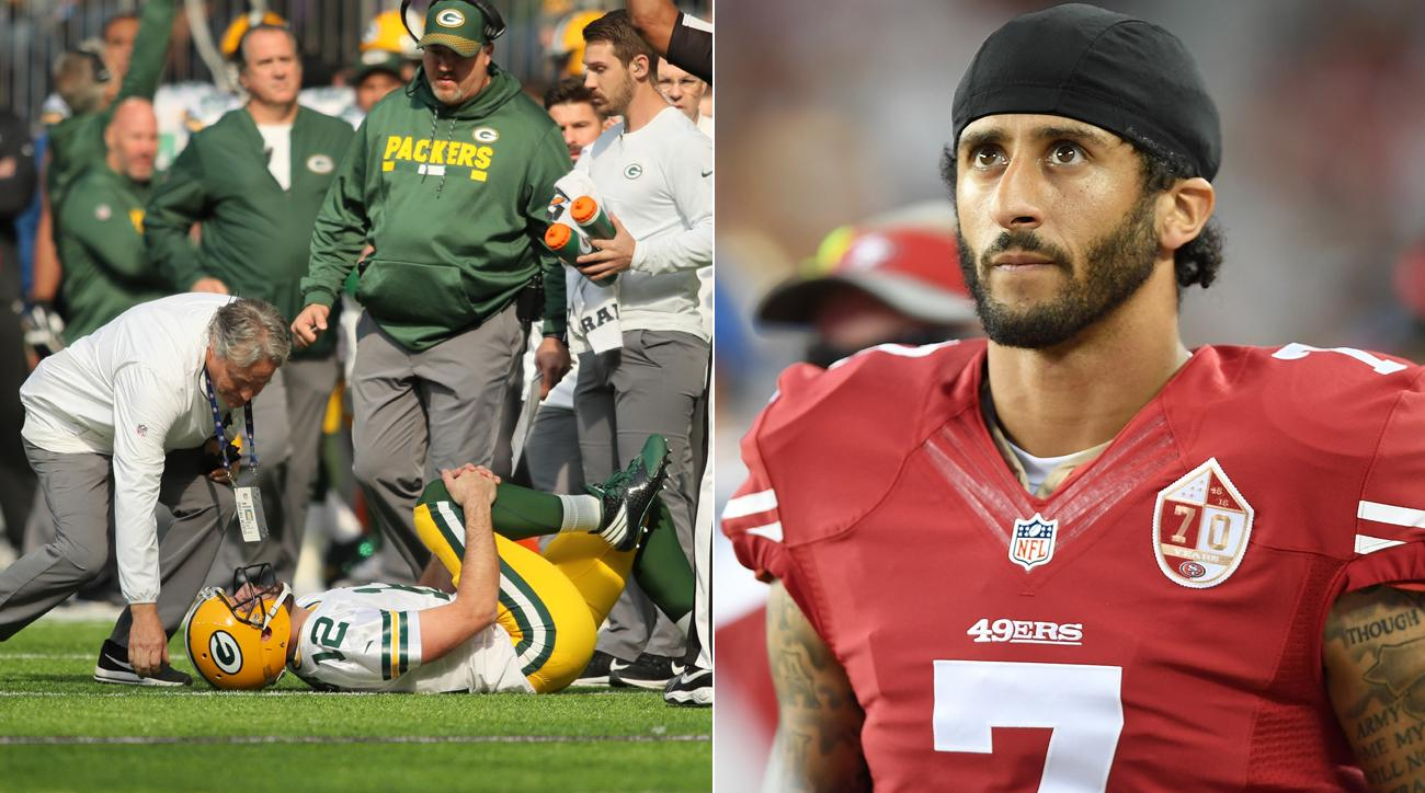 With the injury to Aaron Rodgers, the Packers could look around to see what quarterbacks—like Colin Kaepernick—are available.