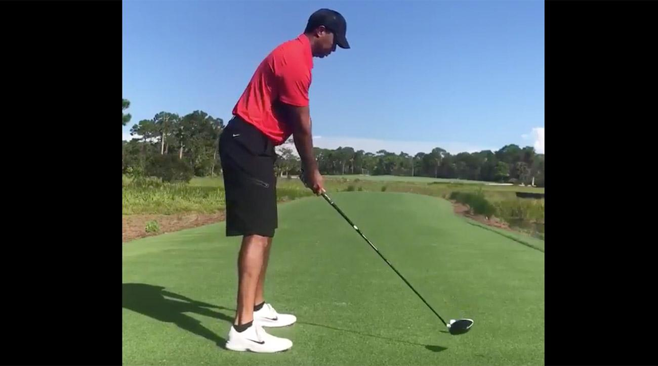 Tiger Woods has made his way to hitting driver.