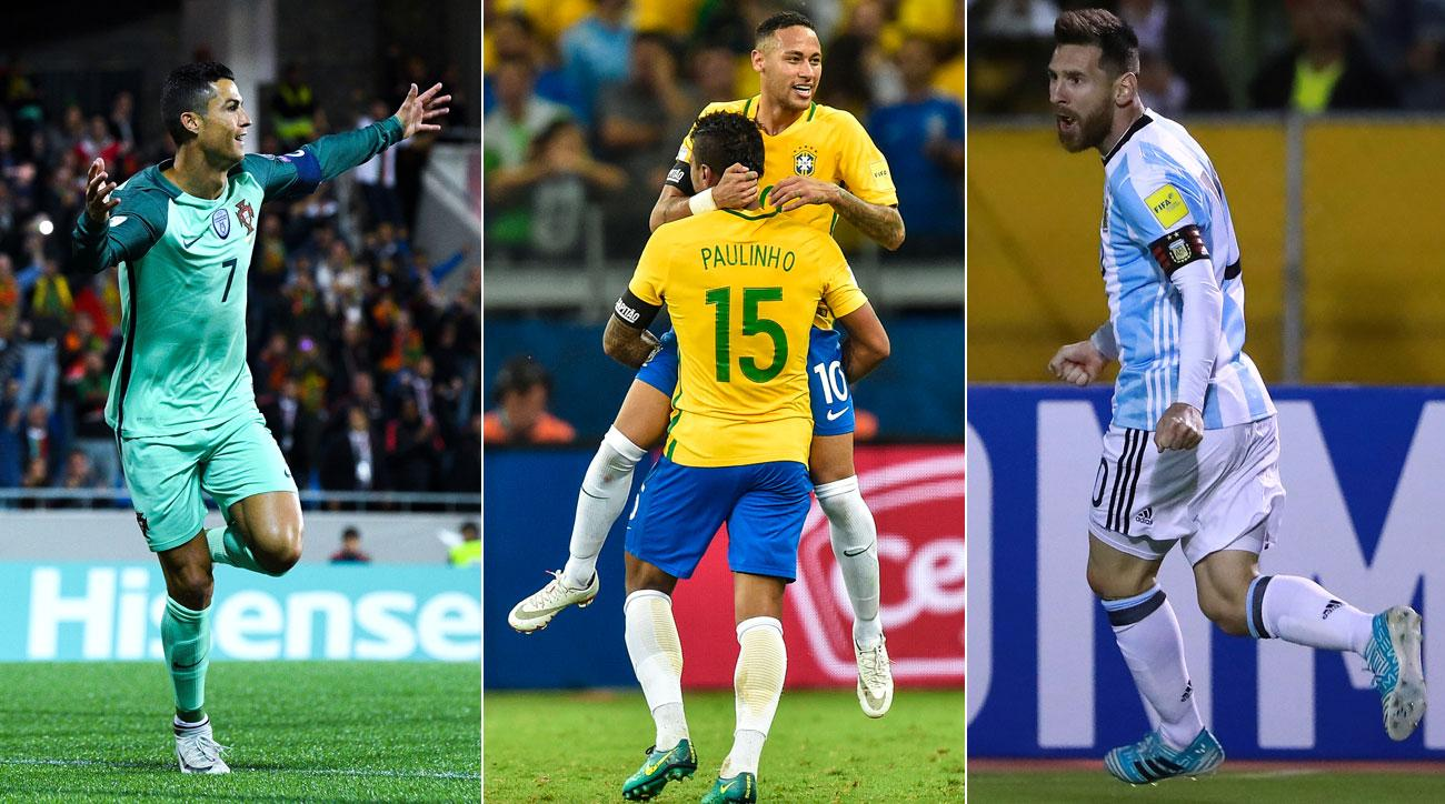 Portugal, Brazil and Argentina will be in the top pot for the World Cup draw