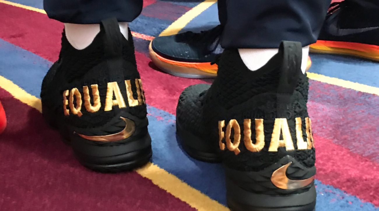 Image result for lebron james wears equality shoes