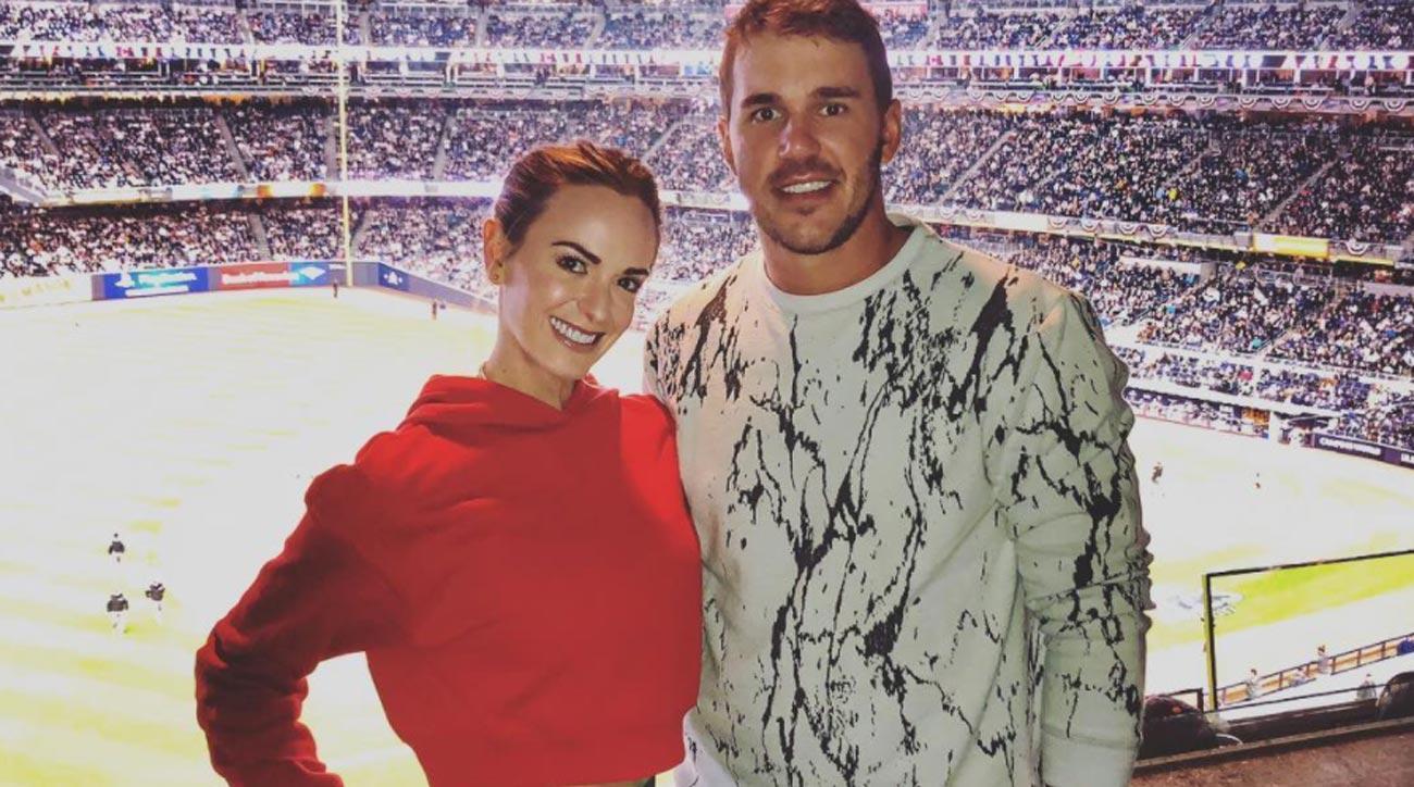 Brooks Koepka and girlfriend Jena Sims at Yankee Stadium.
