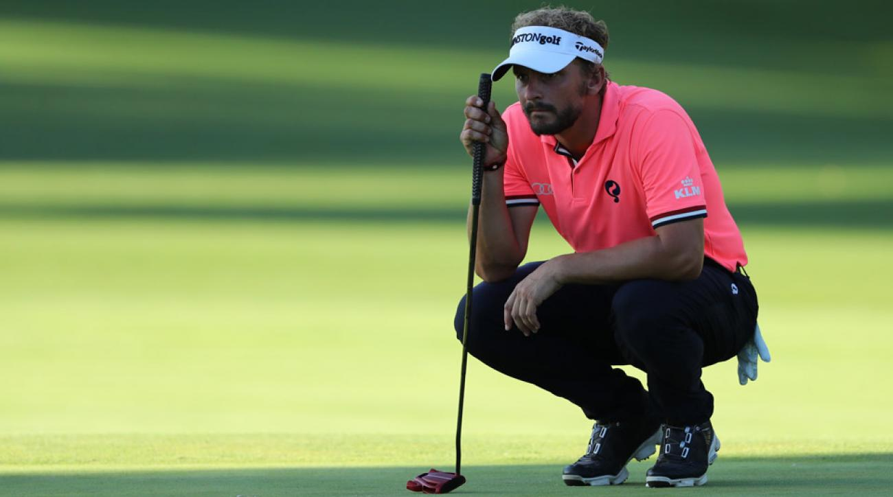 Joost Luiten holed out with a 4-iron from the fairway on the par-5 11th hole at Real Club Valderrama, en route to carding a one-under 70 in the second round.