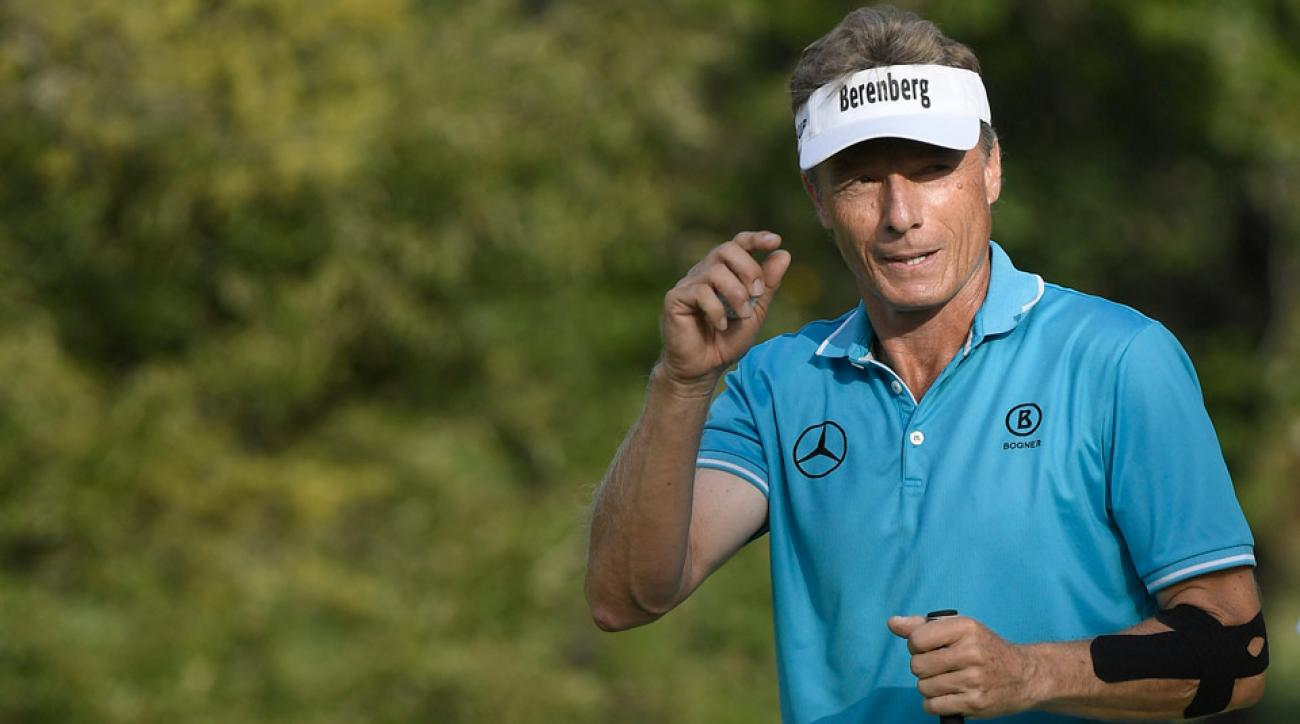 Bernhard Langer matched the course record of 63 in the second round of the Dominion Energy Charity Classic on Saturday.