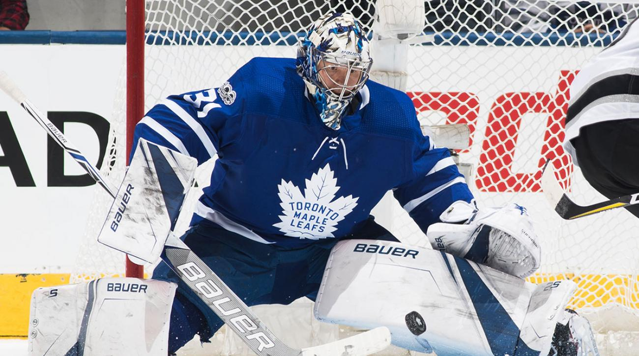 Frederik Andersen #31 of the Toronto Maple Leafs makes a save against the Los Angeles Kings during the first period at the Air Canada Centre on October 23, 2017 in Toronto, Ontario, Canada. (Photo by Mark Blinch/NHLI via Getty Images)