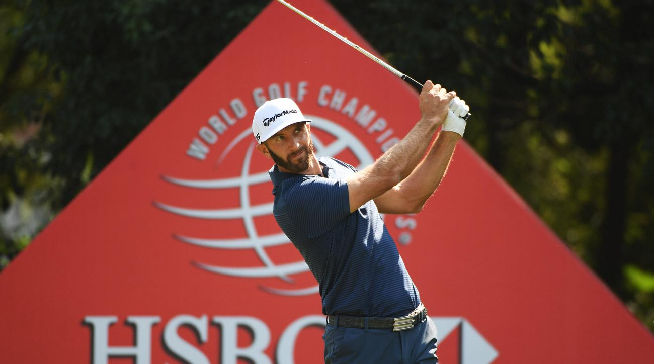 Dustin Johnson  plays his shot from the sixth tee during the third round of the WGC - HSBC Champions.