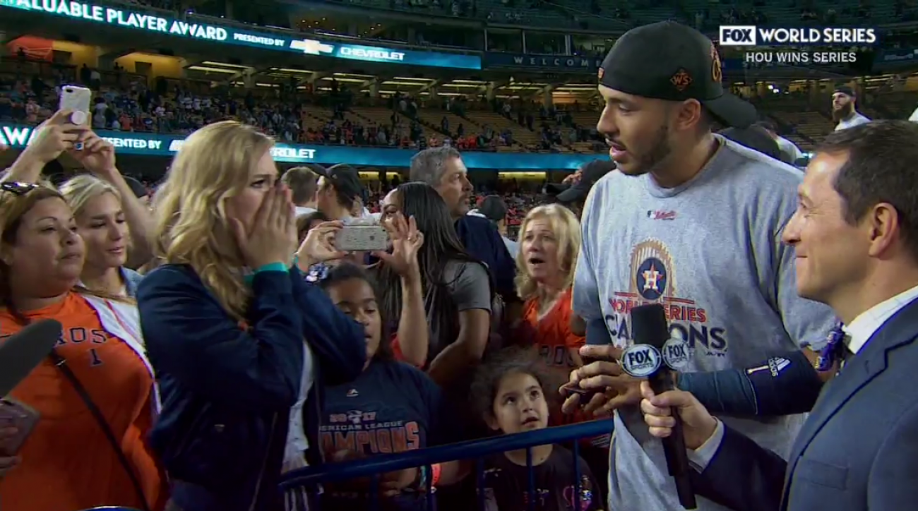Houston Astros' shortstop Carlos Correa proposes to girlfriend during World Series celebration