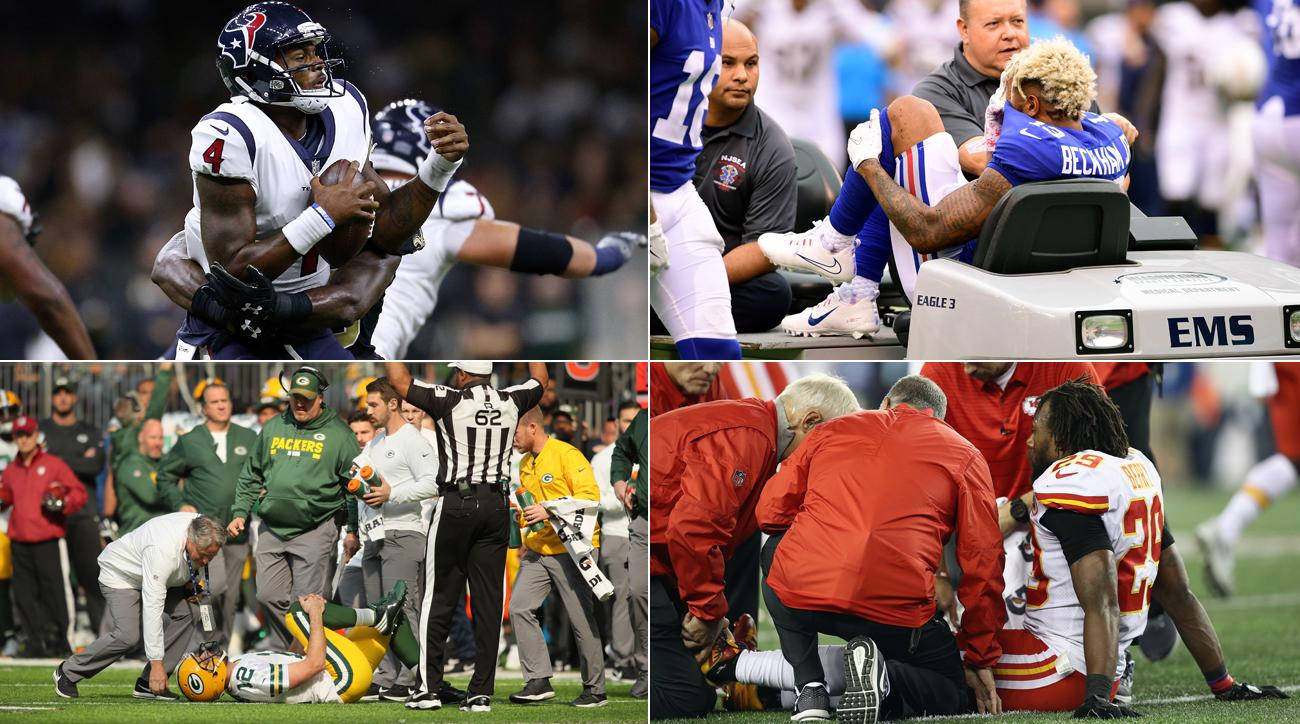 (Clockwise, from top left) Deshaun Watson, Odell Beckham, Eric Berry and Aaron Rodgers all have suffered significant injuries in the 2017 season.