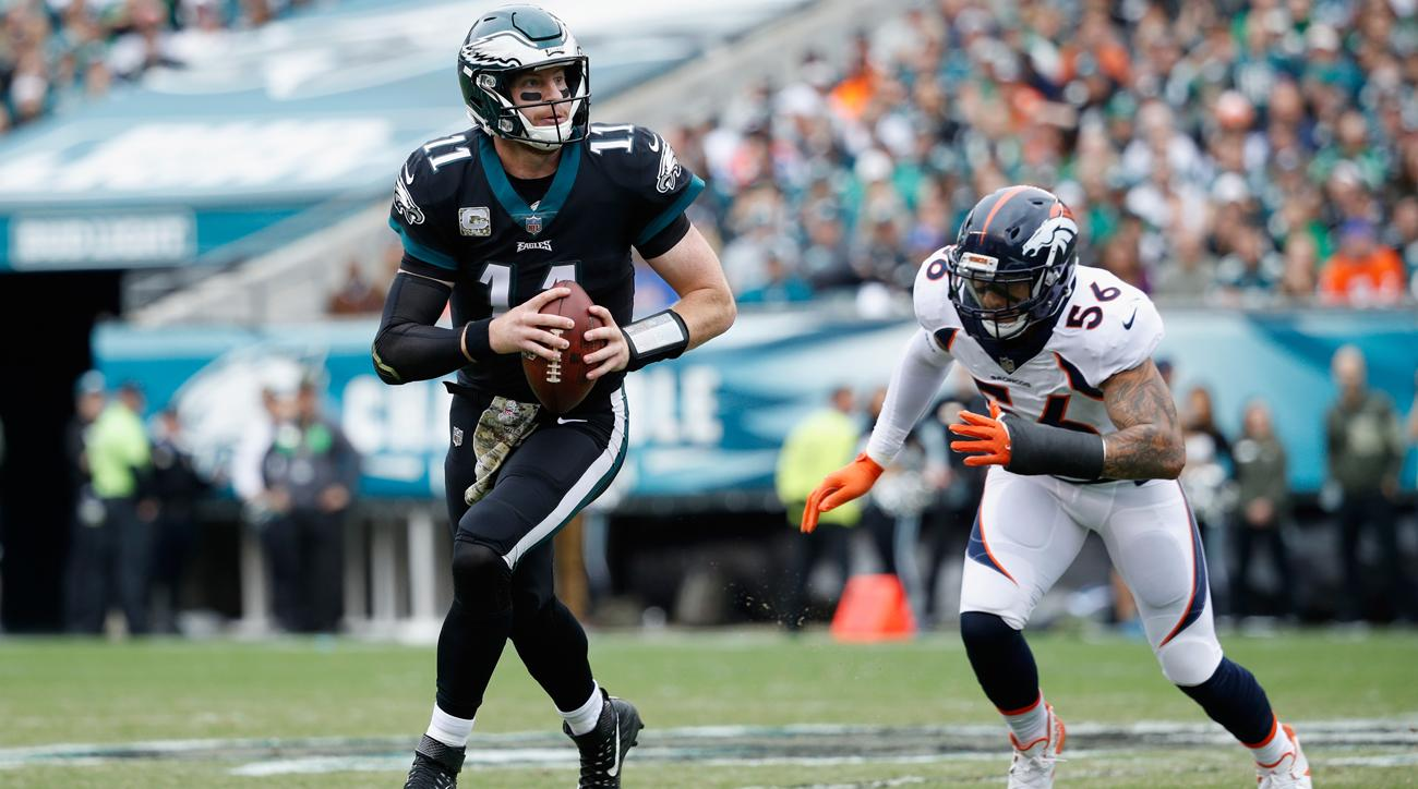 Carson Wentz threw four touchdown passes in leading the Eagles to a 51-23 win over the Broncos on Sunday. Philadelphia has the best record in the NFL at 8-1.