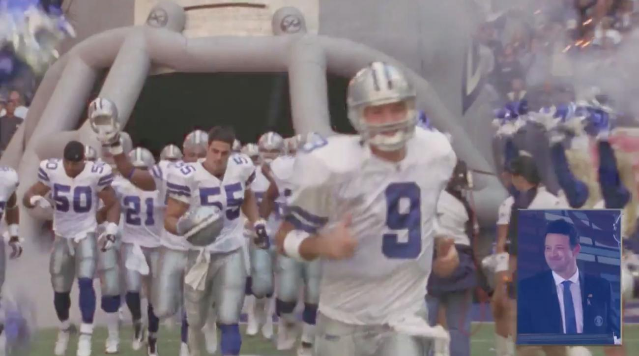 Cowboys salute Romo with giant 'Welcome home 9' banner
