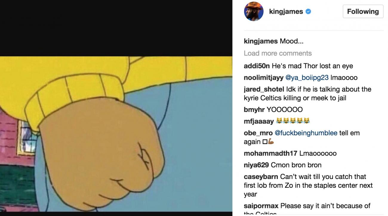 LeBron James posts Arthur meme on Instagram