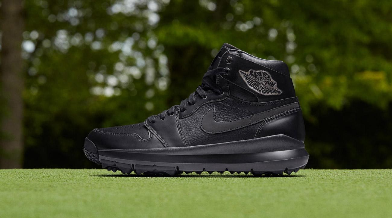 The new all-black Nike Air Jordan 1 Golf Premium golf shoes.