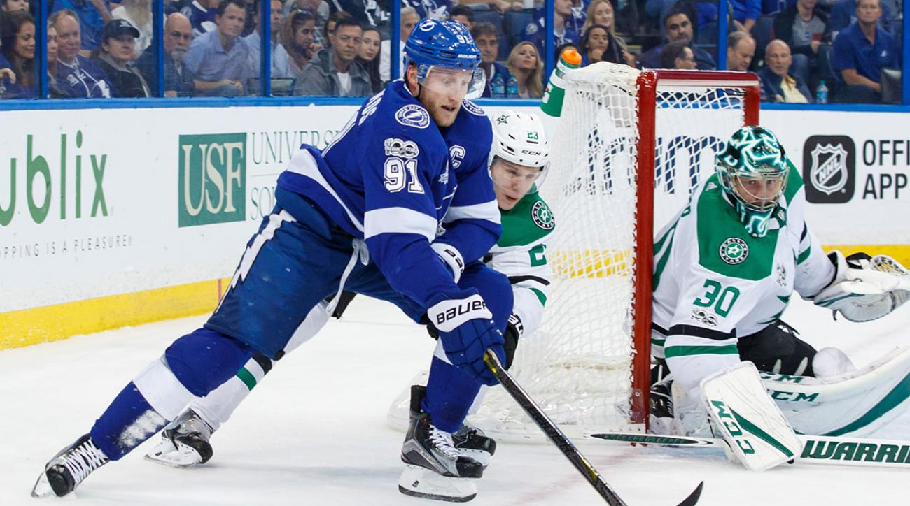 Steven Stamkos #91 of the Tampa Bay Lightning skates against Esa Lindell #23 and goalie Ben Bishop #30 of the Dallas Stars during the first period at Amalie Arena on November 16, 2017 in Tampa, Florida. (Photo by Scott Audette/NHLI via Getty Images)